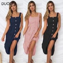 DUOUPA 2019 New European and American Fashion Irregular Button Split Backless Strap Dress