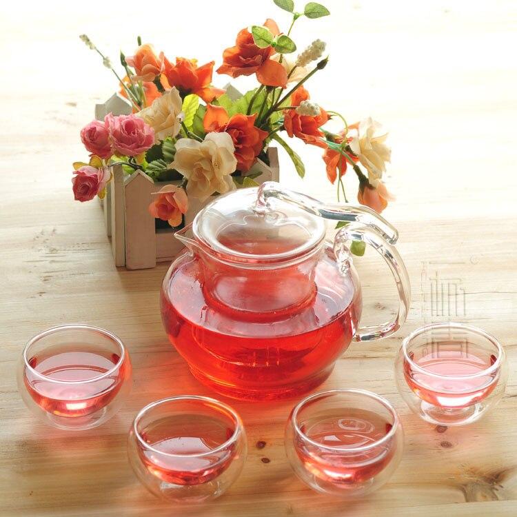 Belle théière en verre 600 ml avec infuseur/filtre + 4/6 tasses, ensemble de thé pour infusion blanc/fleur/matcha/noir/vert/chinois/thé puer
