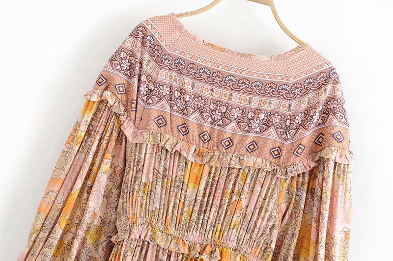 V-Neck Sasches Ruffles Floral Print Boho Dress 15