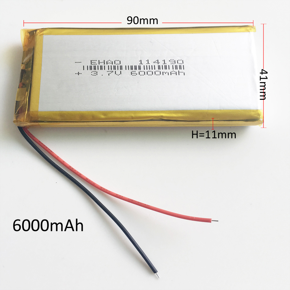 <font><b>3.7V</b></font> <font><b>6000mAh</b></font> 114190 Lithium Polymer <font><b>LiPo</b></font> Rechargeable <font><b>Battery</b></font> Li cells For PAD GPS PSP DVD Power bank Tablet PC Naptop camera image