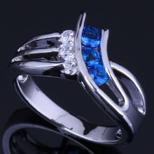 Captivating Blue Cubic Zirconia White CZ 925 Sterling Silver Ring For Women V0684 8mm blue cubic zirconia cz black