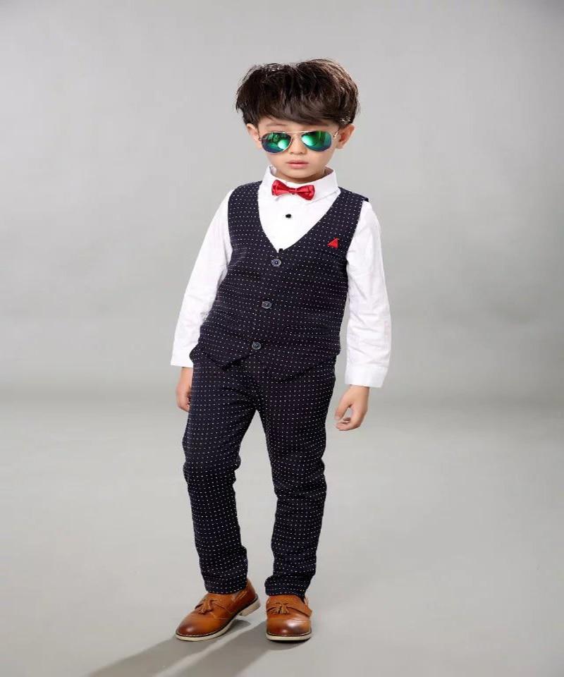 Boys Baby Urodziny Marka Kamizelka Formalne Garnitur Gentleman Dzieci - Ubrania dziecięce - Zdjęcie 3