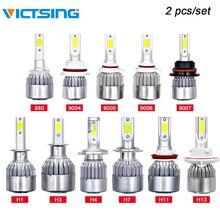 VicTsing 2 шт C6 светодио дный фары автомобиля H1 H4 H7 H8/H9/H11 H10/9005/HB3 9004/HB1 9008 9007 H27 HB4 светодио дный свет фар 72 W Лампа 6000 K