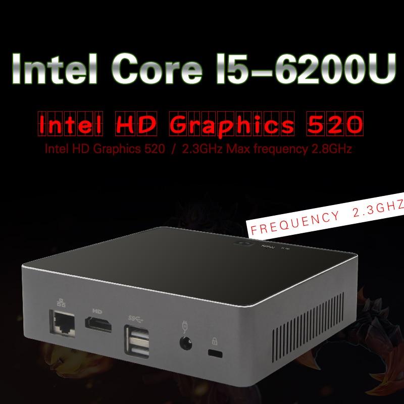 Intel I5 6200U Mini PC Windows 10 Desktop Computer NUC Pocket PC barebone system Nettop Skylake