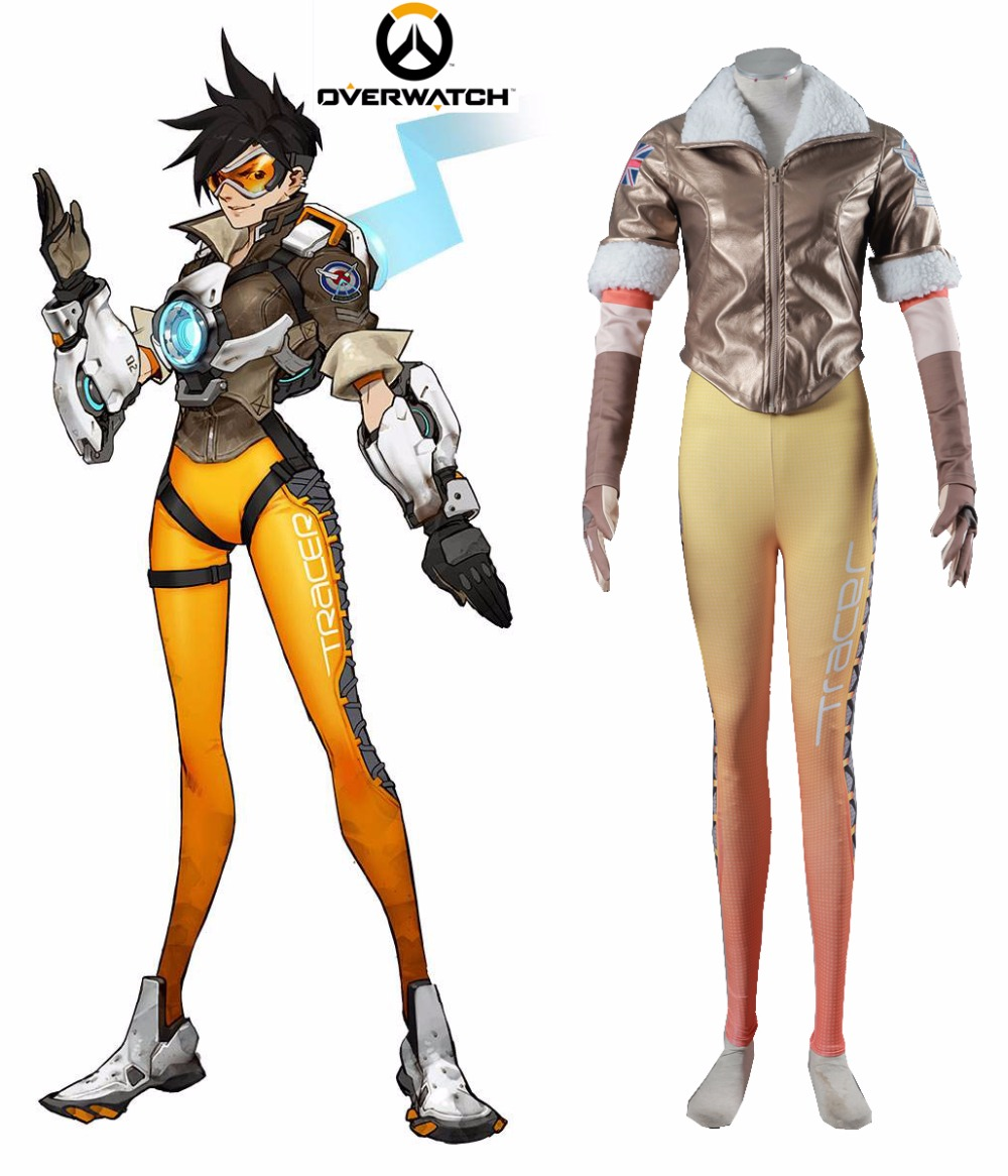 Free Shipping OW Tracer Lena Oxton Uniform Game Cosplay Costume tracer lena oxton costume cosplay yellow suit game uniform female yellow version halloween christmas adult women custom made