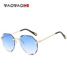 TAOTAOQI Fashion Oversized Pilot Sunglasses Women UV400 Retro Brand Designer frameless Sun Glasses For Female Ladies Eyewear
