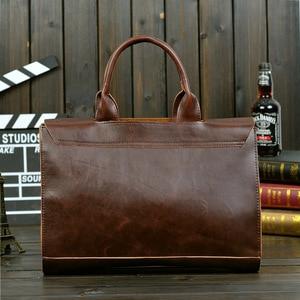 Image 4 - ABDB ETONWEAG Vintage Briefcases Men Messenger Bags Brown Luxury Business Briefcase Document Lawyer Laptop Bag