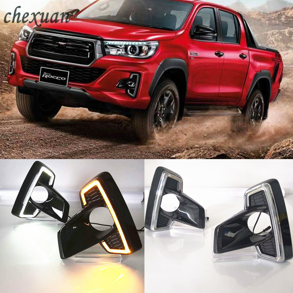 CSCSNL 2Pcs DRL For Toyota Hilux Revo Rocco 2018 2019 Led Daytime Running Light 12V Yellow