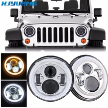 for kenworth T-2000 7Inch Round Led Headlight 7Round LED headlamp with white DRL For Jeep Wrangler Lada 4x4 urban Niva