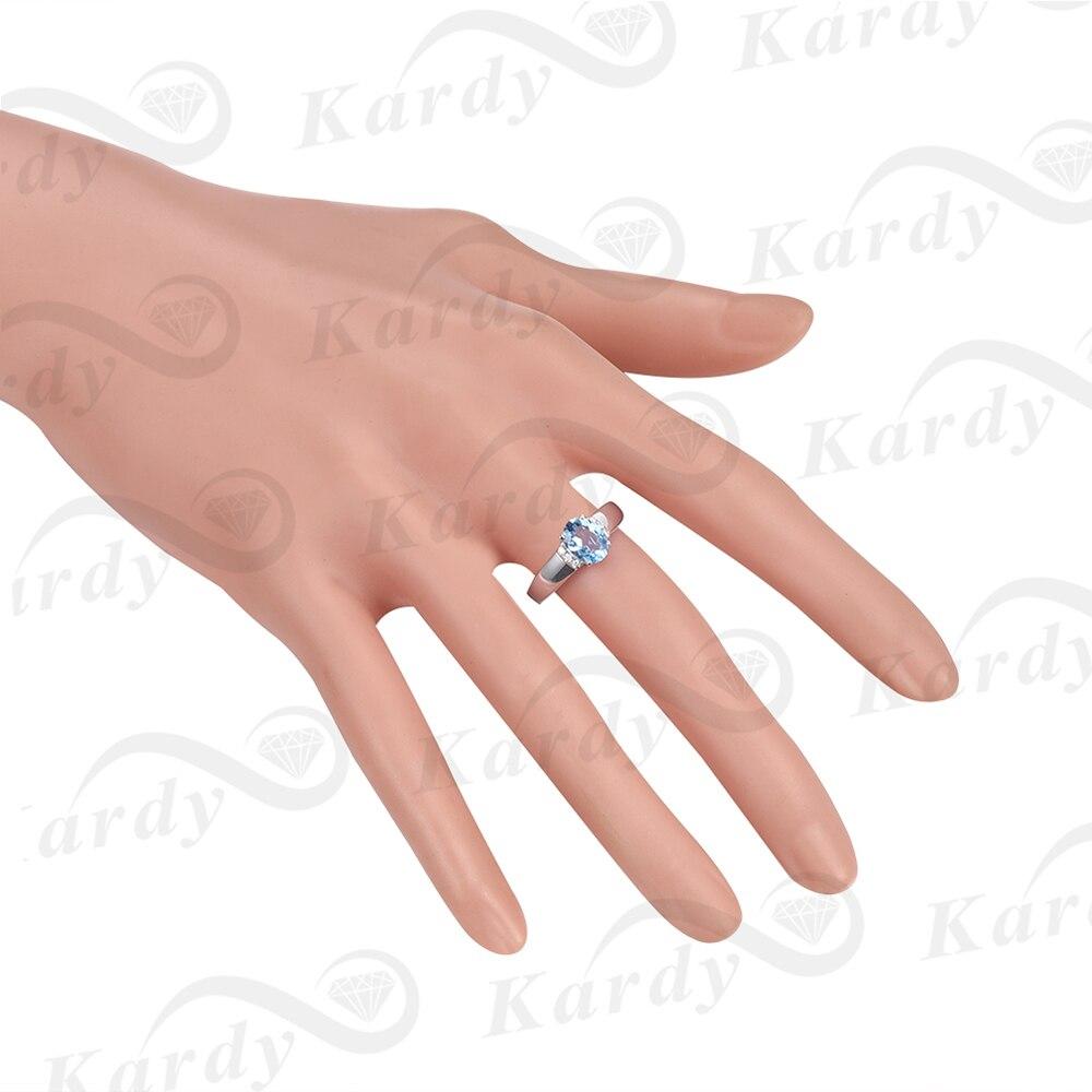 Aigue-marine bleu naturel diamant solide 14K or blanc broche diamant mariage promesse de fiançailles bague ensemble pour les femmes - 6