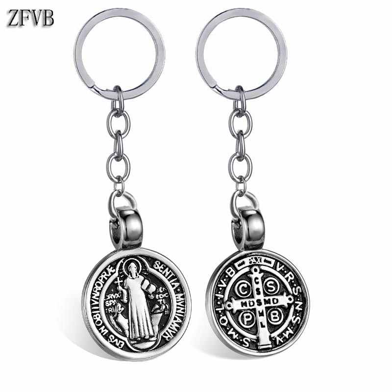 3e79b3ae32c ZFVB Saint Benedict Medal Keychain Pendant Men 316L Stainless steel Never  Fade Catholic Church Key Chain