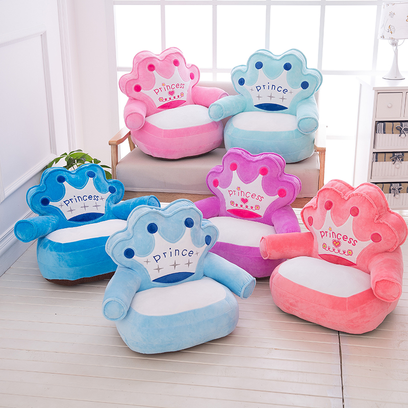 Baby Chair Toddler Seat Bag Only Cover No Filling Baby Bag Cartoon Crown Seat Sofa Plush Children Seat Cover