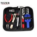 TEZER 14 /16 pieces  watch repair tool Kit Pin Set Watch Case Opener Link Remover Screwdriver Tweezer Watchmaker Dedicated