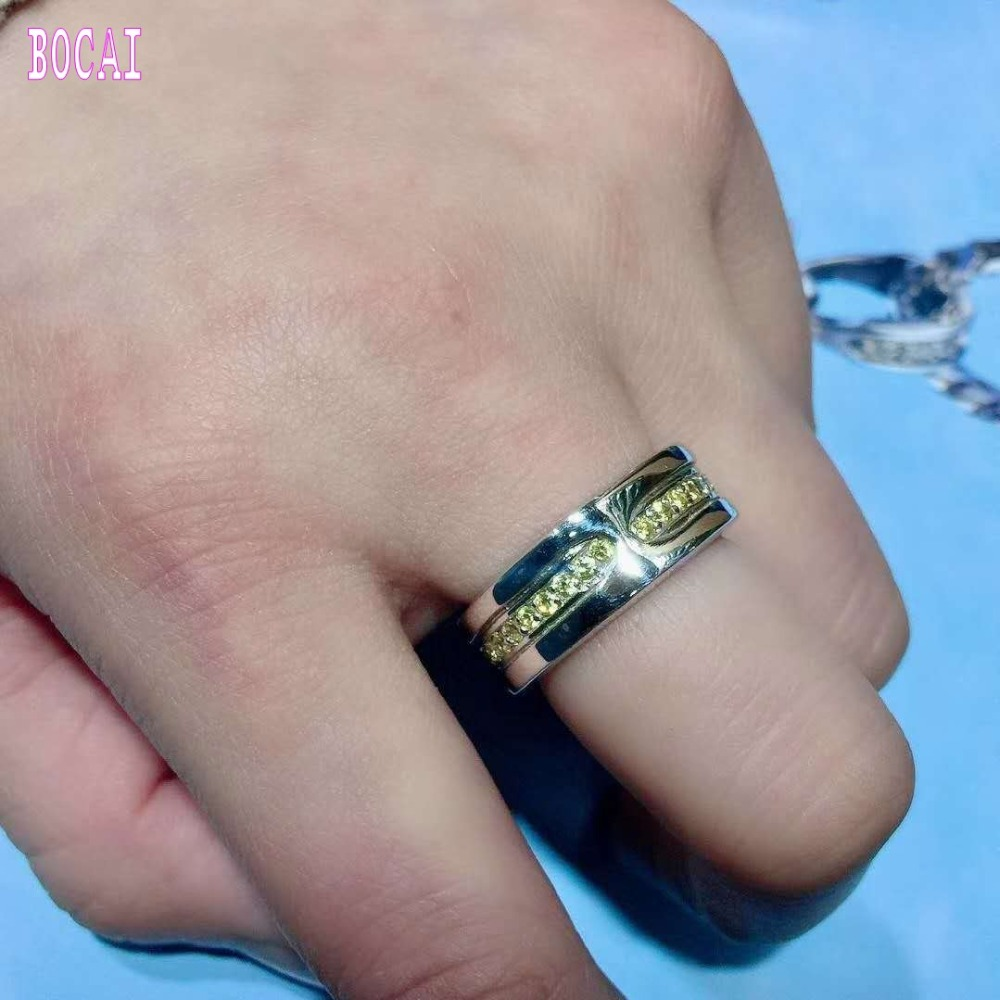 S925 pure silver Good luck ring inlaid yellow zircon fashion mens and womens ringsS925 pure silver Good luck ring inlaid yellow zircon fashion mens and womens rings
