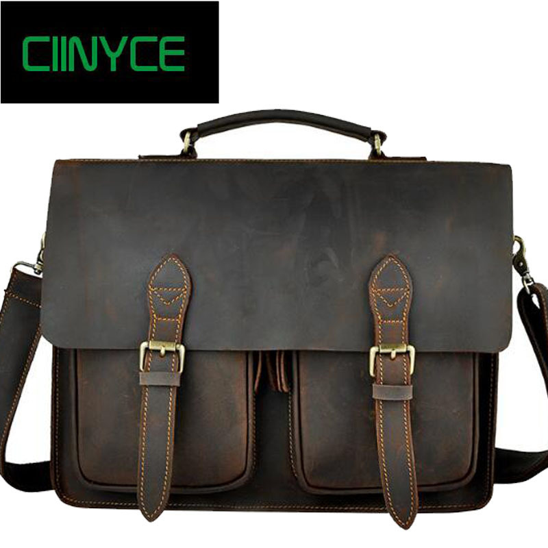 Vintage Crazy Horse Genuine Cowhide Leather Handbags Men Messenger Crossbody shoulder Laptop Business Totes Briefcase Bags ylang vintage crazy horse cowhide briefcases men messenger bags 15 laptop handbags genuine leather briefcase business bag