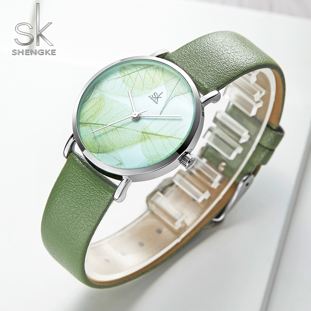Shengke Fashion New Women Watches Green Dial Slim Leather Strap Quartz Wristwatches Simple Design Ultra Thin Case Zegarek Damski