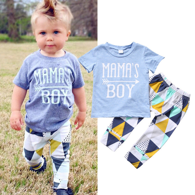 цены Newborn Infant Baby Boys Clothes Set Mama's Boy T-shirt Tops Short Sleeve Pants Leggings 2pcs Outfits Clothing Baby Boy
