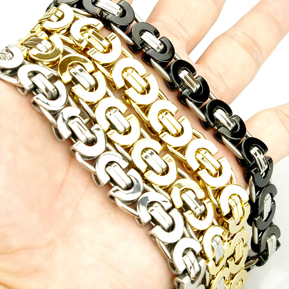 8e53a2d07b799 Fashion Jewelry Flat Byzantine Chain Link Bracelet For MEN WOMEN Stainless  steel Gold Color Jewellery Silver Biker HB006