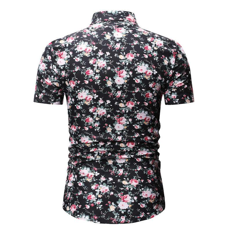 Мужская s хипстер черная Цветочная гавайская рубашка 2019 летняя новая рубашка с цветочным принтом с коротким рукавом мужские пляжные мужские повседневные рубашки Camisas