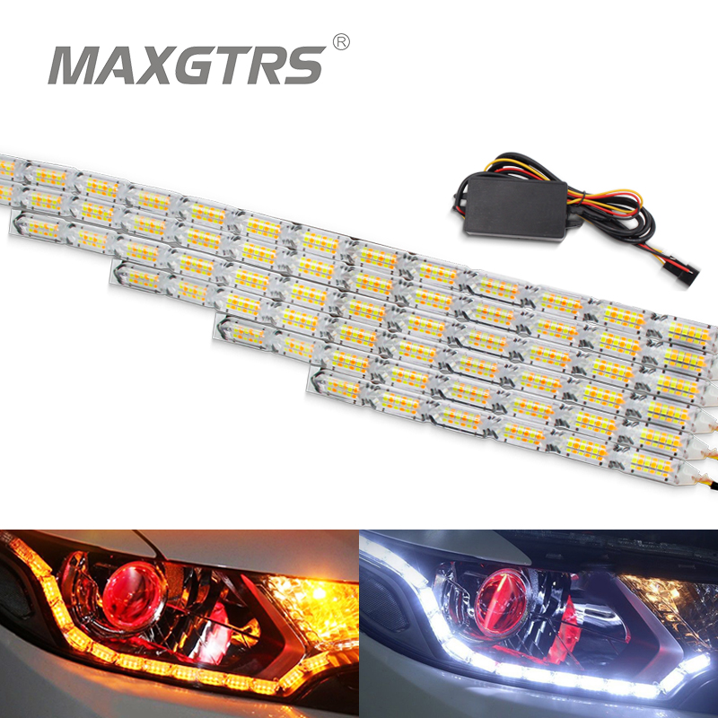 2x Auto Wasserdichte Flexible Weiß/Bernstein Switch LED Knight Rider Streifen Licht Scheinwerfer Sequentielle Flasher DRL Blinker