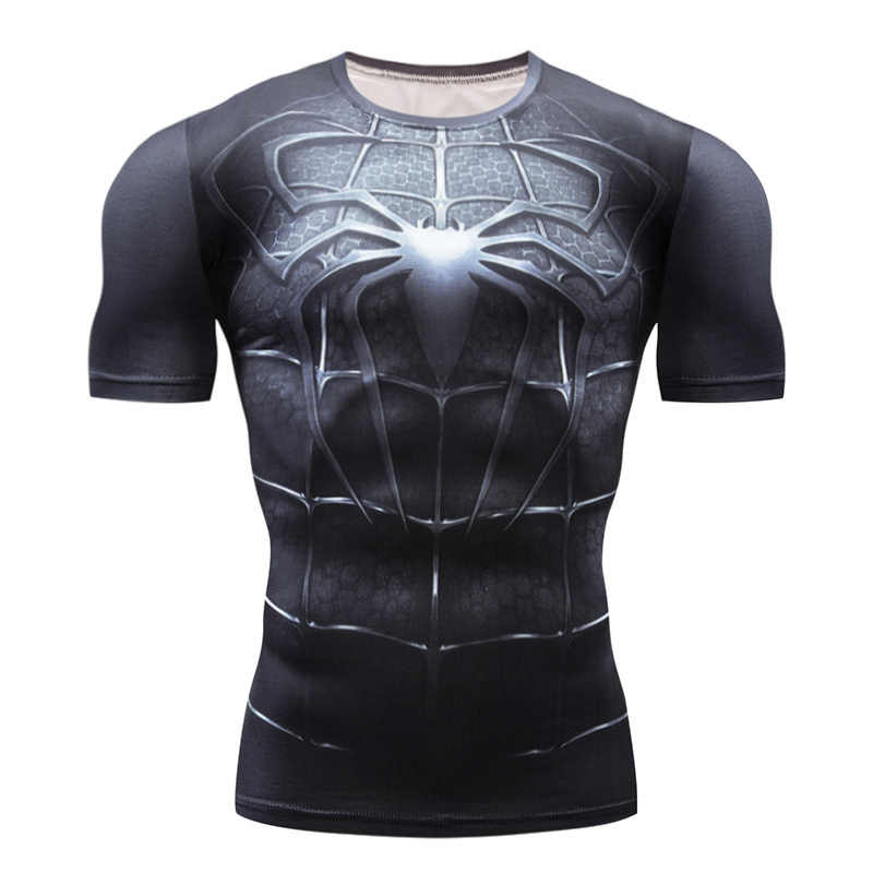 Marvel Spiderman Punisher Penjaga Ruam 3D Batman Superman Berjalan T Shirt Pria Jogging T-shirt Kebugaran Binaraga Kompresi Kemeja