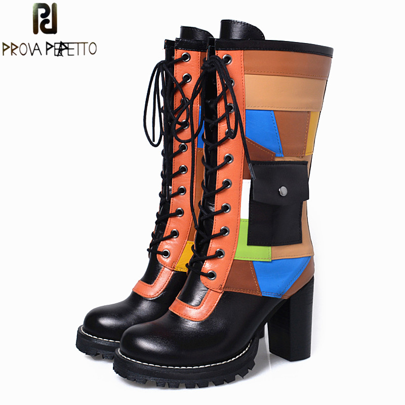 Prova Perfetto Fashion Mixed Color Leather Women Short Boots Lace Up High Heels Dress Shoes Woman Winter New Ladies Pumps prova perfetto 2017 winter new styles women short boots high quality 100