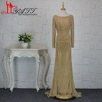 Liyatt Sexy Backless Gold Mermaid Evening Dress 2017 Long Sleeves Luxury Gowns Diamond Prom Dresses Robe