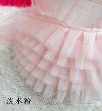 light pink  tiffanyblue ruffled tulle trim, blush lace tutu dress fabricdoll fabric, wedding decors