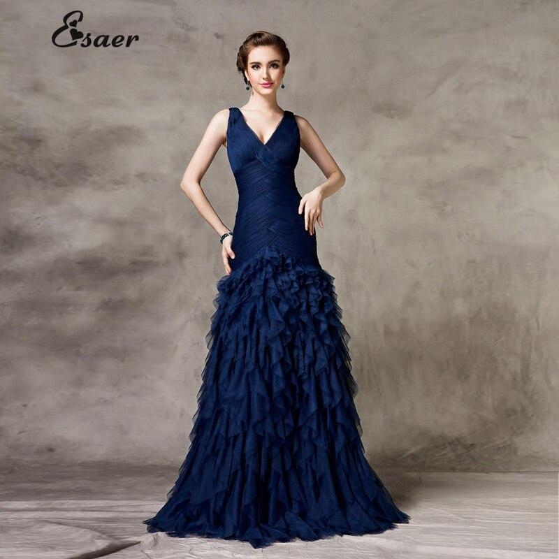 Vestido de festa Luxury Evening Gowns V neck Sleeveless Blue Long ...