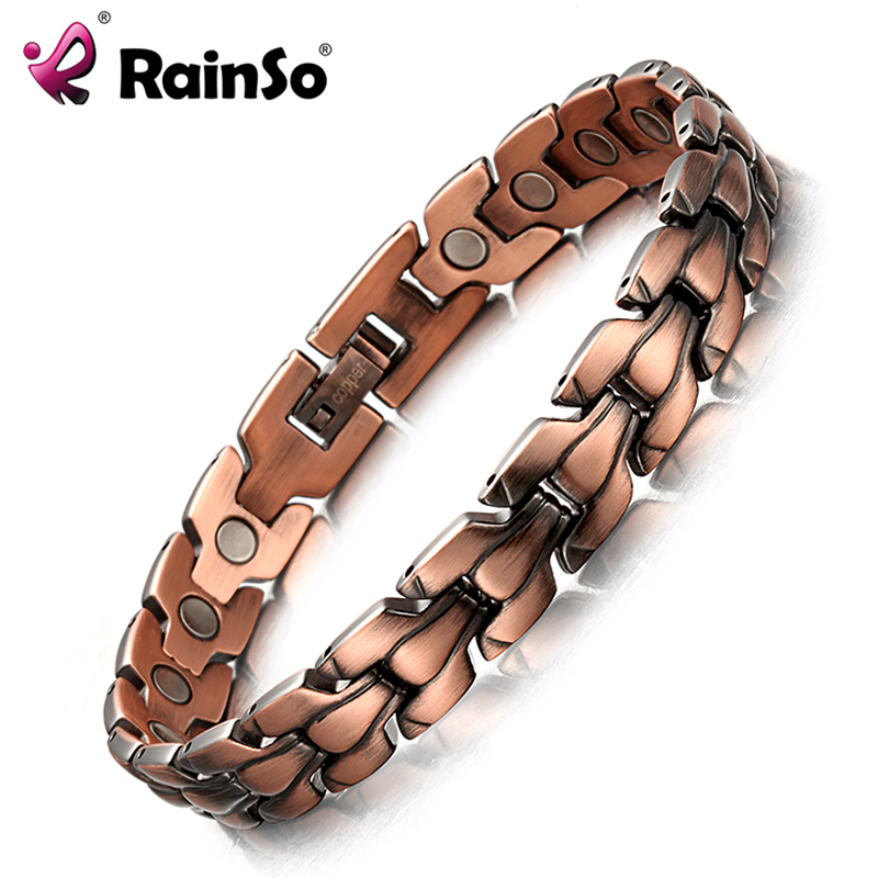 RainSo Men's Copper Magnetic Bracelet Healthy Bio Energy Bracelets & Bangles Top Quality Health Jewelry Red Copper Wristbands rainso vintage copper magnetic bracelet for men women 2 row magnet healthy healing therapy bio energy bangles fashion jewelry