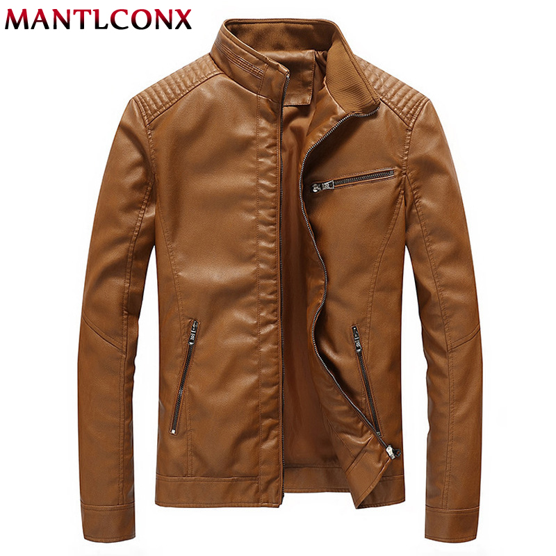 MANTLCONX New Men's PU Jackets Coats Autumn Motorcycle Biker Faux Leather Jacket Men Leather Coats Male Casual Overcoat M-5XL(China)