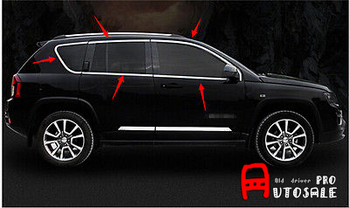 Voor Jeep Compass 2011 2012 2013 2014 2015 Staal Top + Bottom raam vol Compleet Rond cover Trim 10 stks auto styling