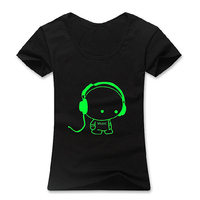 Fashion Men's Glow in The Dark Luminous Music Cartoon Kid Pattern T-Shirt Tee