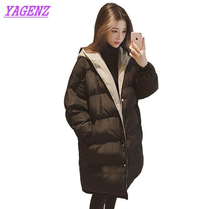 NEW Korean version Winter warm Women Long Down cotton Jacket Upscale Young women Fashion Loose Hooded Cotton outerwear Gray B196