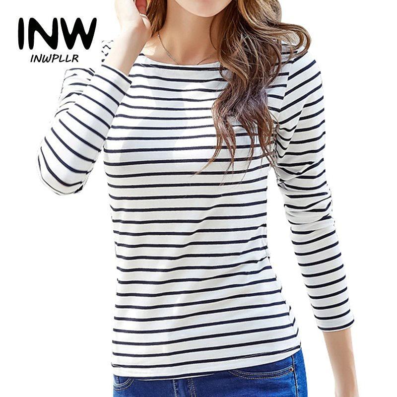 2018 otoño mujeres camisetas Casual manga larga rayas
