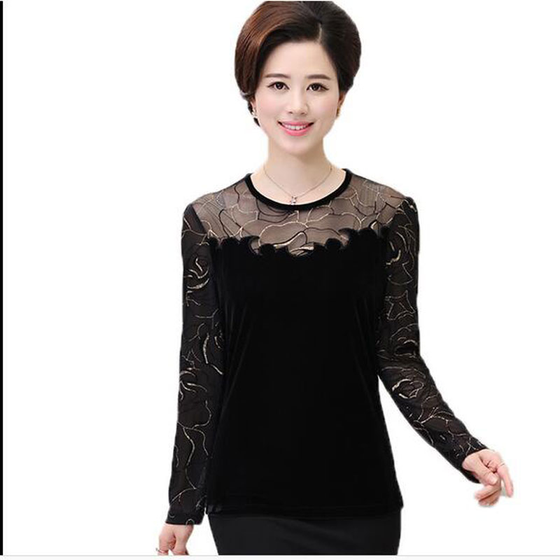 2017 New Fashion Autumn Women T-shirt Lace Long Sleeve o-neck Gold velvet patchwork Slim T Shirts Female Sexy Tops Tee AE2101
