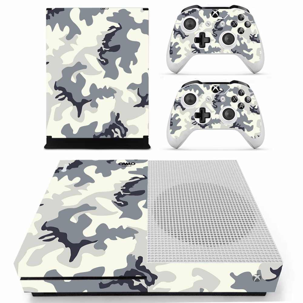 Camouflage Camo Skin Sticker Decal For Microsoft Xbox One S Console and 2 Controllers For Xbox One S Skins Sticker Vinyl