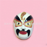 European Chinese style Metal enamel painted crafts Chinese Peking Opera mask, home decoration desktop ornaments (A501)