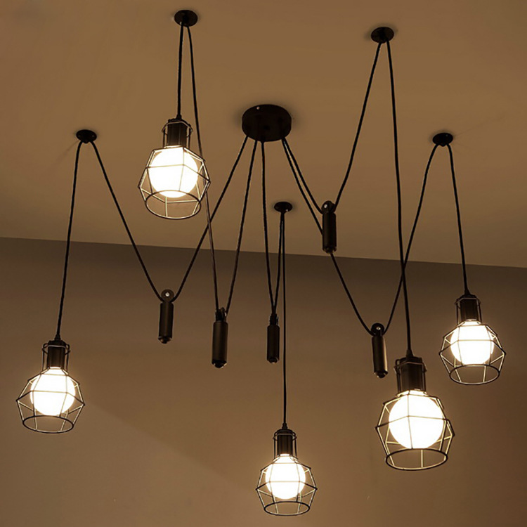 Mordern скандинавский Ретро Эдисон лампа люстра винтажный Лофт античный регулируемый Diy E27 арт паук потолочный светильник