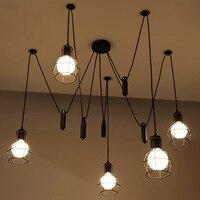 Mordern nordic retro edison lâmpada luz do candelabro sótão vintage antigo ajustável diy e27 arte aranha luminária de teto luz