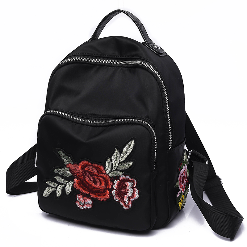 2017 National Style Women Backpacks Rose Flower Embroidery Shoulder Bags Female Handmade Diamond Oxford Leisure Travel