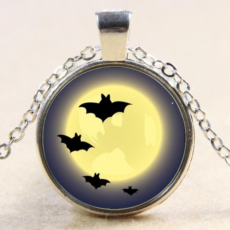 Halloween Jewelry Moon Light Glass Pendants Necklace Natural art Bat pendant Vintage Jewelry Gift YP5038