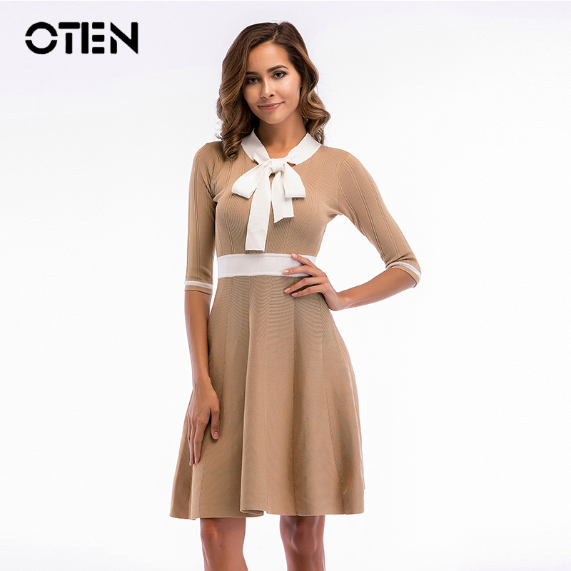 OTEN Elegant Ladies Spring Summer Half sleeve Bow korean style A Line Party knitted Short Mini vestidos casual women dress 2018