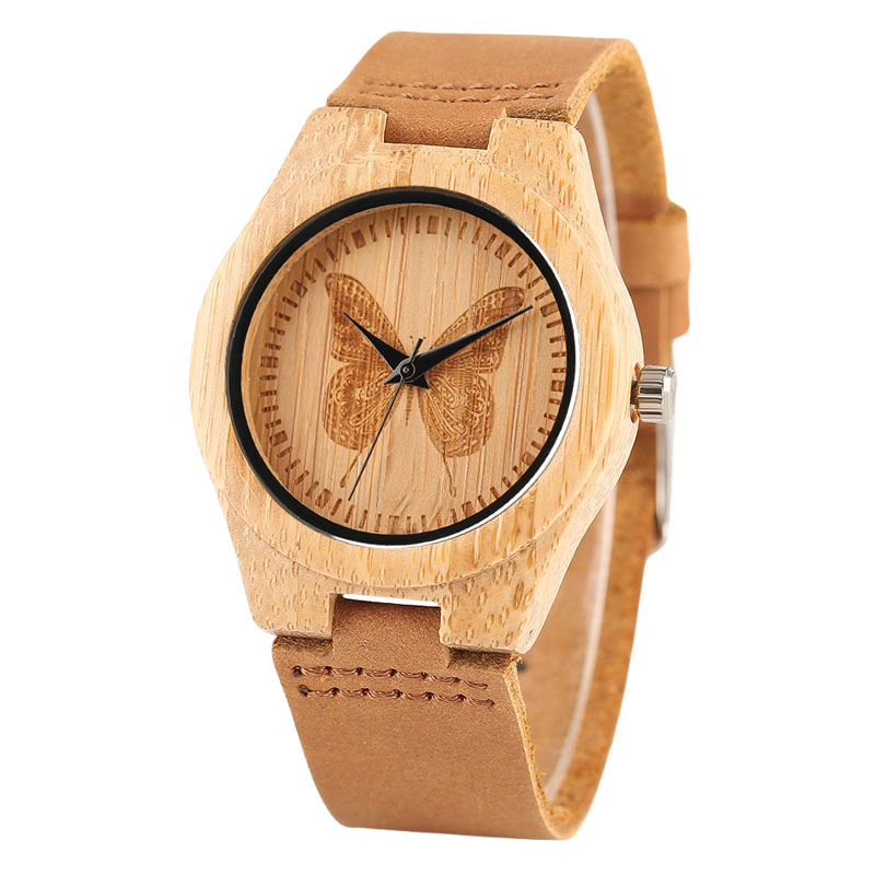 Fashion Women Watches Natural Wooden Butterfly Dial No Numbers Quartz-watches Ladies Genuine Leather Brown Sports Hour