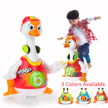 Huile Hip Pop Walking Dancing Swing Goose Musical Animal Flashing Baby Education Interactive Electronic Pet Toys For Children(China)