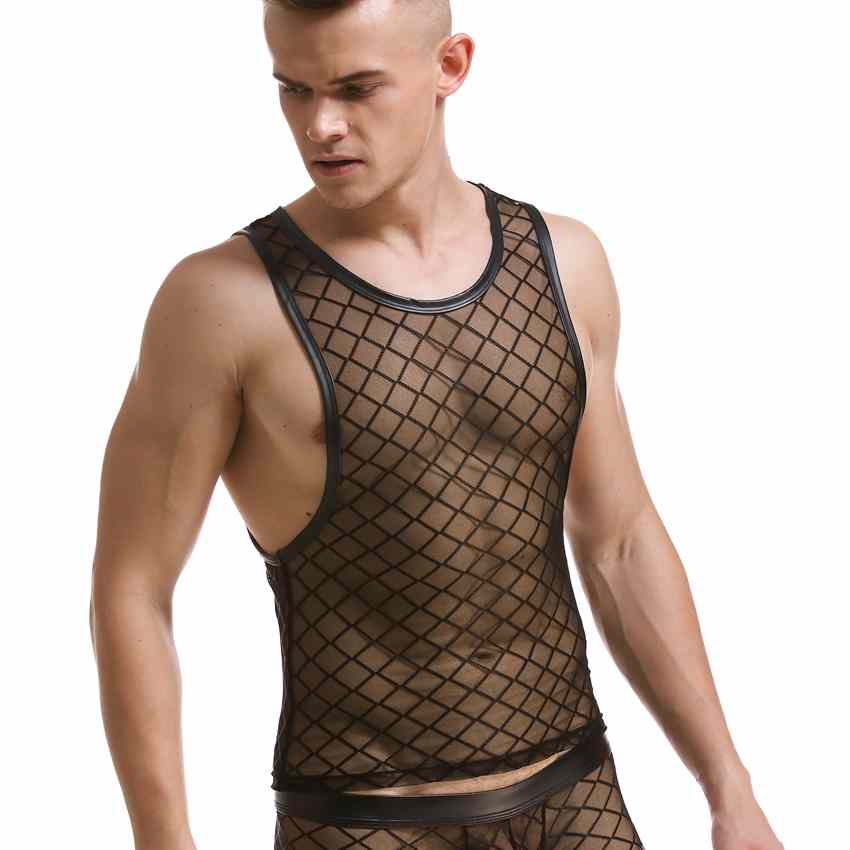 Summer2016Black Plaid Mens Fishnet Tank Man Sexy Tank Tops Funny Fitness  Tanks Tops Gay Mesh Singlets Special diamond mesh vest 4bd54212d817