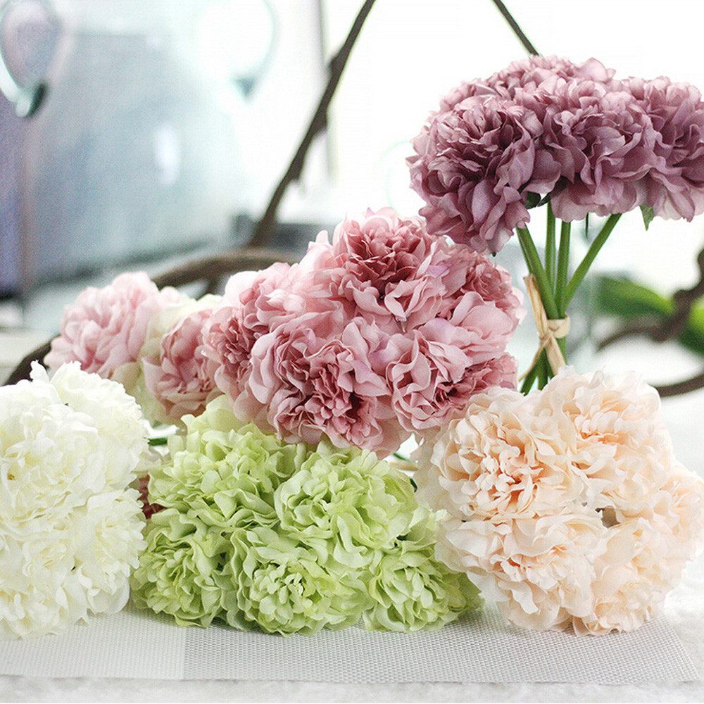 Decorative Artificial Silk Fake Flowers Peony Floral Wedding