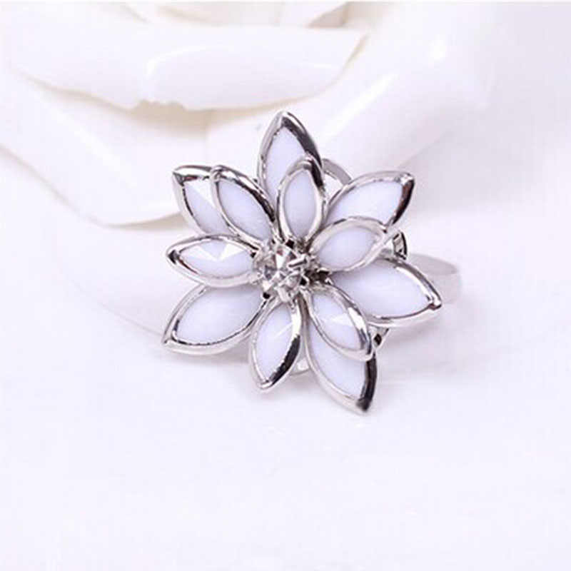 Multi-Layer White Leaves Simple Camellia Vivid Flower Silver Golden Elegant Rings For  Women