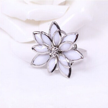Multi-Layer White Leaves Simple Camellia Vivid Flower Silver Plated Golden Elegant Rings For Women image
