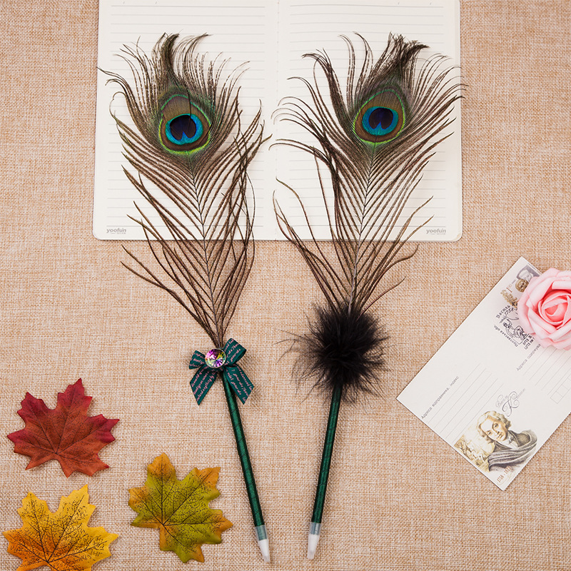 60pcs lot peacock feather ballpoint pen creative stationery office gift prize